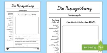 Vatertag Zeitungsartikel Schreibvorlage - Vatertag, Zeitungsartikel, Papazeitung, Schreibvorlage, Schreiben, Zeitung, Artikel, Druckschrift, S