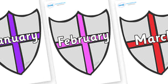Months of the Year on Shields - Months of the Year, Months poster, Months display, display, poster, frieze, Months, month, January, February, March, April, May, June, July, August, September