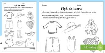 Îmbrăcăminte de iarnă Fișă de lucru - Winter, iarna, romanian, materiale, resurse, material didactic, fișă de lucru, obiecte vestimentar