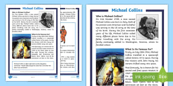 KS1 Michael Collins Differentiated Fact File -  KS1, Key Stage One, Year 1, Year 2, Year One, Year Two, English, Literacy, Reading, Moon Landing, B