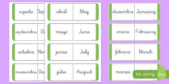 Tarjetas bilingües de buscar y emparejar Los meses del año en inglés - inglés, bilingüe, meses