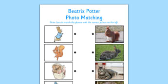 Beatrix Potter Photo Matching Activity - beatrix potter, photo matching, photo, match, activity
