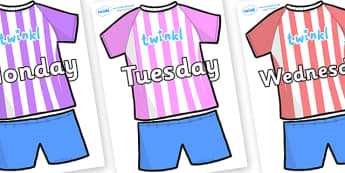 Days of the Week on Football Strip - Days of the Week, Weeks poster, week, display, poster, frieze, Days, Day, Monday, Tuesday, Wednesday, Thursday, Friday, Saturday, Sunday