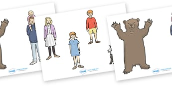 We're Going on a Bear Hunt Stick Puppets - We're Going on a Bear Hunt, Michael Rosen, resources, swishy swashy, Bear Hunt, Bear Hunt Story, splash splosh, thick oozy, deep dark cave, family, journey, story, story book, story book resources, story seq