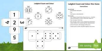 Ladybird Count and Colour Dice Game - EYFS, Early Years, Minibeasts, counting game, Maths, ladybug