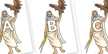 A-Z Alphabet on Zeus - A-Z, A4, display, Alphabet frieze, Display letters, Letter posters, A-Z letters, Alphabet flashcards