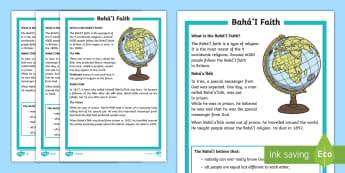 KS1 Bahai'i Faith Differentiated Fact File -  KS1 differentiated fact file, comprehension, reading independently, facts, baha'i faith, religion,