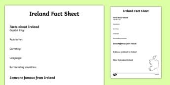 Ireland Factsheet Writing Template - ireland, ireland fact sheet, ireland fact file, ireland worksheet, facts about ireland, irish culture, ks2 geography