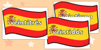 Spanish Numbers 21-31 Posters - spanish number posters, spanish number words, spanish numbers, spanish language, languages, spanish numbers to 31 on flags