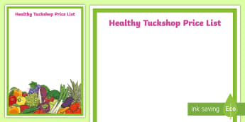 Editable Healthy Tuck Shop Price List A4 Display Poster - CfE Healthy Eating Week 12th June, Health and Wellbeing, Healthy Eating, Eatwell Guide, Nutrition, e