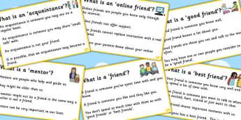 Types Of Friendship Description Cards - friends, friendships, SEN