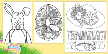 Extra Large Easter Colouring Pages  - easter, activities, colouring, mindfulness
