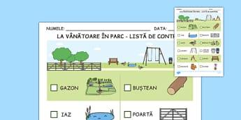 La vanatoare in parc, Lista de control - vara, stiinte, fise