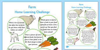 EYFS Farm Home Learning Challenge Sheet Reception FS2 - eyfs, farm, home learning, challenge
