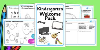 Kindergarten Welcome Pack - Back to school, welcome pack, welcome, starting school, all about me, about me, starting nursery, starting KS1