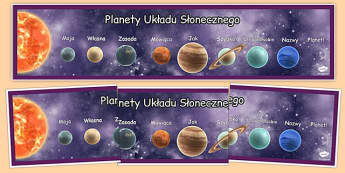 Banner na gazetkę Planety zapamiętanie kolejności po polsku