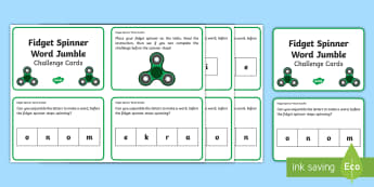 Fidget Spinner Word Jumble KS1 Challenge Cards - Literacy, Spelling, Phonics, Reading, Play, Timed, Writing