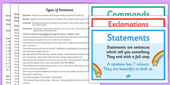 Types of Sentences Differentiated Activity Sheet Pack - Command, exclamation, question, statement, worksheet