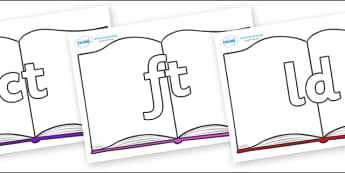 Final Letter Blends on Books - Final Letters, final letter, letter blend, letter blends, consonant, consonants, digraph, trigraph, literacy, alphabet, letters, foundation stage literacy