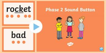 Phase 2 Sound Button  PowerPoint - Phase 2 Sound Button Word Cards - australia, phase 2, sound, button, word cards, word, cards,satipn,