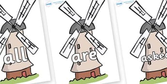 Tricky Words on Windmills - Tricky words, DfES Letters and Sounds, Letters and sounds, display, words