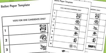 Ballot Paper Template - ballot, paper, template, role-play, play
