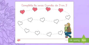 Completa la serie: suma de 3 en 3 - el día de la madre, mother's day in Spain, counting, contar, numbers, números, numeracy, numeraci