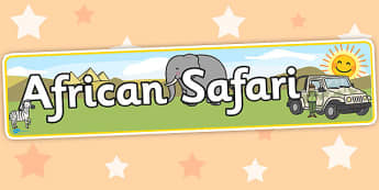 African Safari Display Banner - Africa, Safari, poster, display, banner, vines, A4, display, lion, cheetah, puma, jaguar, rhino, hippo, elephant, giraffe, antelope