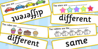 Fill In The Sentences Same Or Different Cards - cards, sentences