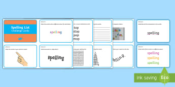 Spelling Activities Challenge Cards - Spelling Activities, spelling, challenge, revise, practise, spag, writing, ,Irish