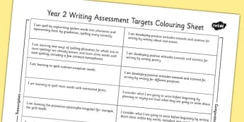 2014 Curriculum Y2 English Writing Assessment Targets Colouring Sheet