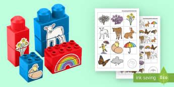 Spring Matching Connecting Bricks Game - EYFS Connecting Bricks Resources, Duplo, Lego, plastic bricks, seasons, spring, baby animals, new li