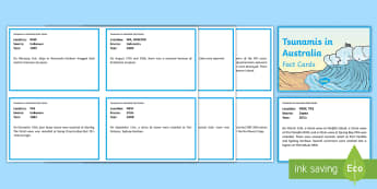 Tsunamis in Australia Fact Cards - tsunami, tidal waves, ACSSU096, year 6 science, grade 6 science, geological events, earthquakes, geo