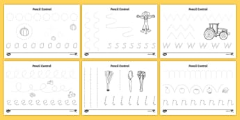Harvest Pencil Control Activity Sheet Pack - autumn, seasons, motor skills, worksheet
