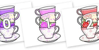 Numbers 0-31 on Teacups - 0-31, foundation stage numeracy, Number recognition, Number flashcards, counting, number frieze, Display numbers, number posters