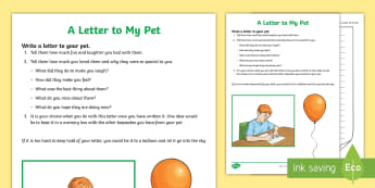 A Letter to My Pet Activity Sheet  - bereavement, PSHCE, loss, young people, emotions, activity sheet