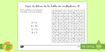 Ficha de actividad: Sopa de letras - Tabla de multiplicar ×8 - multiplicar, multiplicación, x8, ocho en ocho, ocho por ocho tabla de multiplicar, múltiplos, sopa
