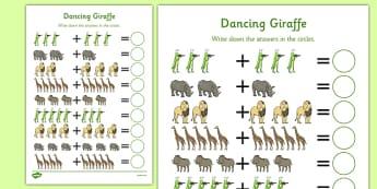 Dancing Giraffe Themed Up to 10 Addition Sheet - Giraffes Can't Dance, adding, sums, counting, EYFS, ten, jungle