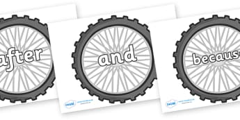 Connectives on Bike Wheels - Connectives, VCOP, connective resources, connectives display words, connective displays