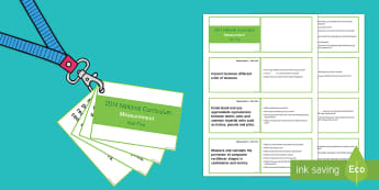 Lanyard Sized Year Five Measurement Objectives Cards - year 5, year five, y5, objectives, measurement, centimetres, metric units, imperial units, compare m