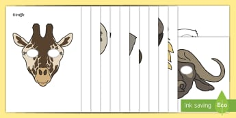 Safari Role-Play Masks - Safari, animals, animal, Role Play, mask, africa, lion, tiger, plain, hippo, cheetah, rhino, elephant, leopard, giraffe