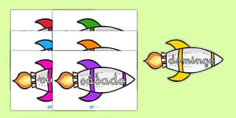 Cohetes de los días de la semana en DIN A4 - calendario, decorción