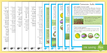 Comprensión lector de atención a la diversidad: Comercio Justo - Fairtrade, Comercio Justo, lectura, comprensión, leer, lector, ficha, sostenibilidad, cultivos, cul