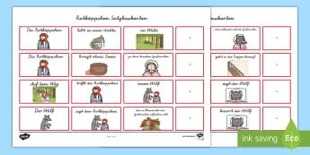 Rotkäppchen Satzbau : DIN A4 Karteikarten - Rotkäppchen Satzbau Karteikarten, Satzglieder, Märchen, Grammatik, Subjekt, Verb, Objekt, Drucksch