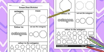 Octagon Shape Worksheet - shapes, 2D shapes, tracing, numeracy