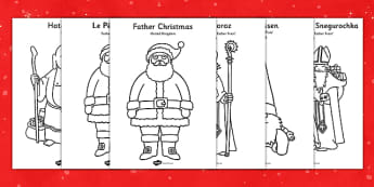 Father Christmas Around The World Colouring Sheets - colouring