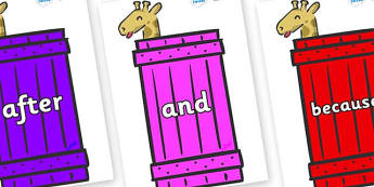 Connectives on Giraffes (Crate) to Support Teaching on Dear Zoo - Connectives, VCOP, connective resources, connectives display words, connective displays