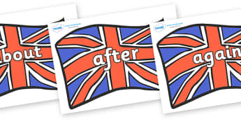 KS1 Keywords on Union Jacks - KS1, CLL, Communication language and literacy, Display, Key words, high frequency words, foundation stage literacy, DfES Letters and Sounds, Letters and Sounds, spelling