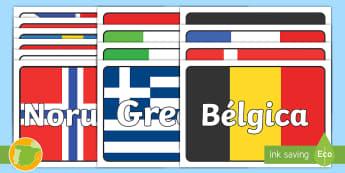 Etiquetas de mesa: Banderas de Europa  - banderas, decoración, decorar, exposición, exponer, grupos, mesa, etiqueta, cartel, póster, Europ