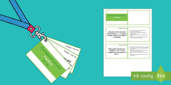 Lanyard Sized Year Two Number Fractions Objectives Cards - year 2, year two, national curriculum, objectives, maths objectives, fractions objectives, half, qua